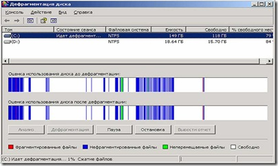 """Вікно програми """"Дефрагментація диска"""""""