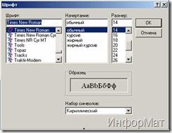 Діалогове вікно зміни параметрів шрифту
