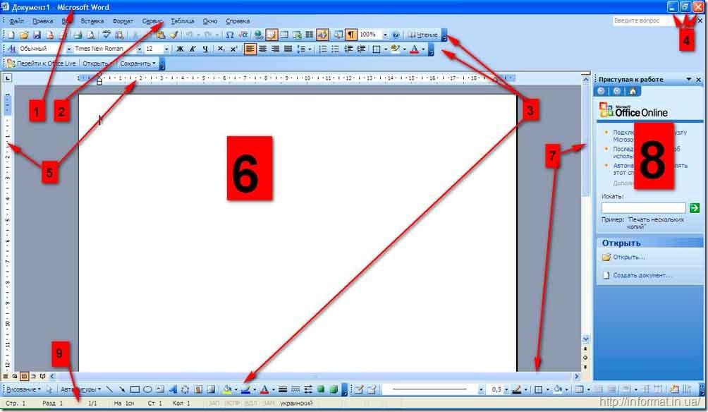 Окно программы Microsoft Word